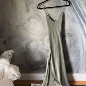 PLANET BLUE silk charmeuse olive slip dress